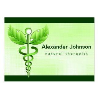 Luz verde de la medicina alternativa del caduceo tarjetas de visita grandes
