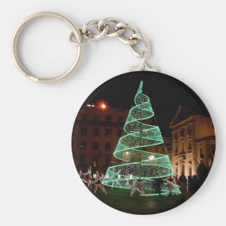 Luz verde del árbol de navidad llavero redondo tipo pin