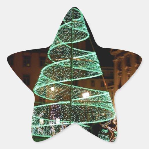 Luz verde del árbol de navidad pegatina en forma de estrella
