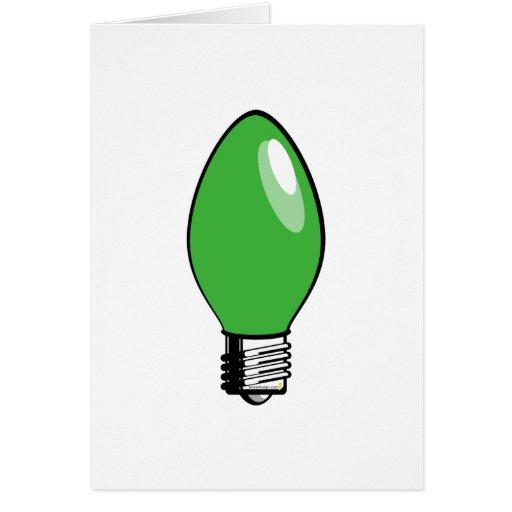 Luz verde del árbol de navidad tarjeta de felicitación