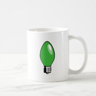Luz verde del árbol de navidad tazas