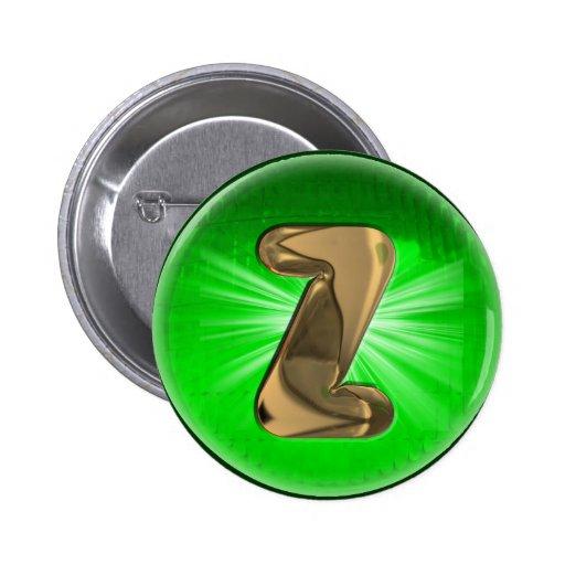 Luz verde del monograma Z del oro del TAXI Pin Redondo 5 Cm