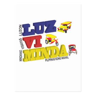 Luz-vi-Minda - Luzon Visayas Mindanao - Pilipinas Post Card