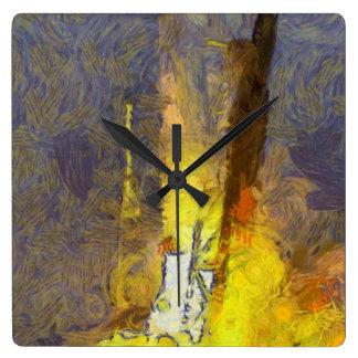Luz y furia de un lanzamiento del cohete reloj cuadrado
