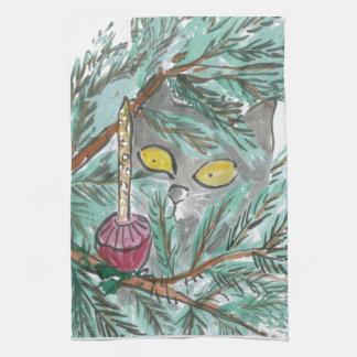 Luz y gatito de la burbuja del navidad toalla de mano