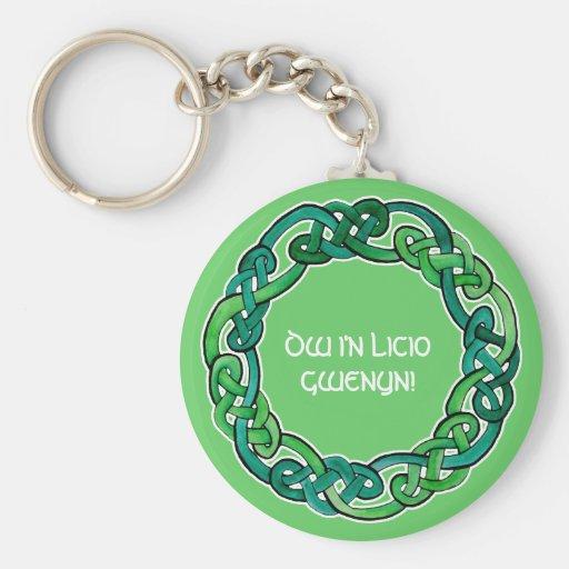 Luz y Knotwork circular verde oscuro Llavero Redondo Tipo Pin