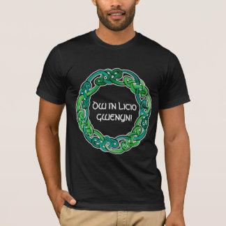 Luz y Knotwork circular verde oscuro Playera