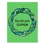 Luz y Knotwork circular verde oscuro Postal