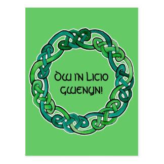 Luz y Knotwork circular verde oscuro Postales