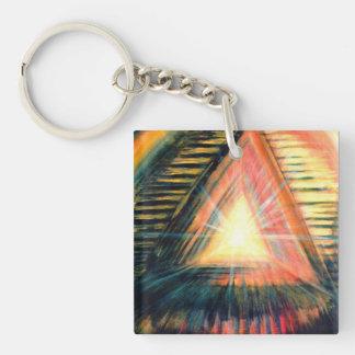 Luz y pirámides curativas llavero cuadrado acrílico a doble cara
