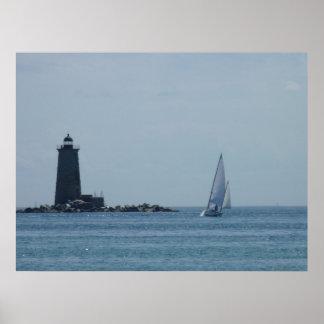 Luz y velero de Whaleback Póster