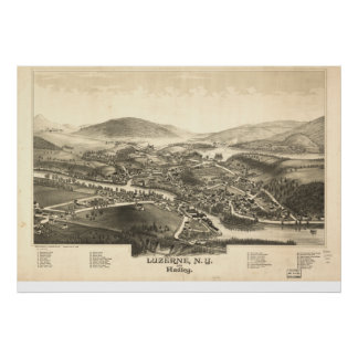 Luzerne New York 1888 Antique Panoramic Map Poster