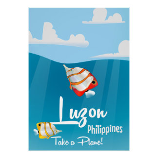 Luzon, philippines cartoon travel poster