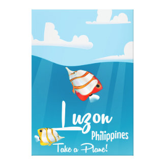 Luzon, philippines cartoon travel poster canvas print