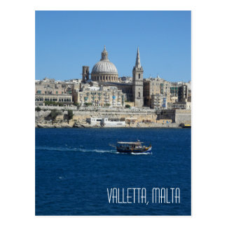 Luzzu Fishing Boat Valletta Skyline Harbour Malta Postcard
