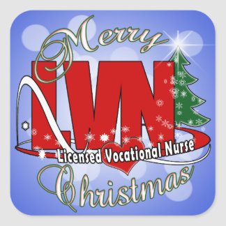 LVN CHRISTMAS Licensed Vocational Nurse Square Sticker