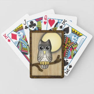 LWood Owl Bicycle Playing Cards