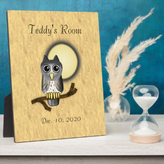 LWood Owl Cute Name and Date  Room Plaque