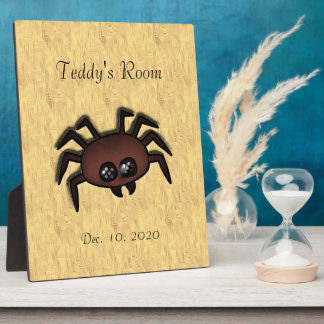 LWood Spider Cute Name and Date  Room Plaque