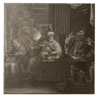 Lycaon transformó en un lobo, 1731 (el grabado) azulejo cuadrado grande
