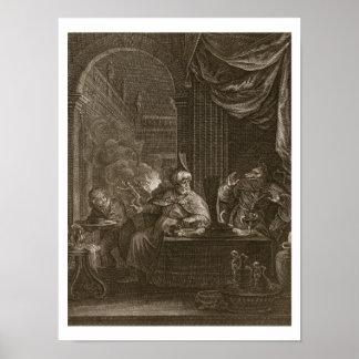 Lycaon transformó en un lobo 1731 el grabado poster