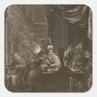 Lycaon transformó en un lobo 1731 el grabado calcomania cuadrada personalizada