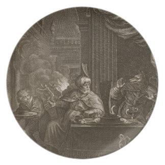 Lycaon transformó en un lobo 1731 el grabado platos de comidas