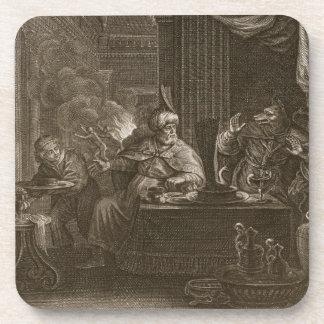 Lycaon transformó en un lobo 1731 el grabado posavasos