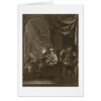 Lycaon transformó en un lobo 1731 el grabado tarjeton