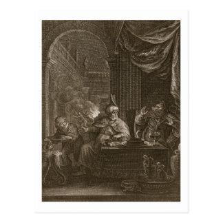 Lycaon transformó en un lobo 1731 el grabado postales