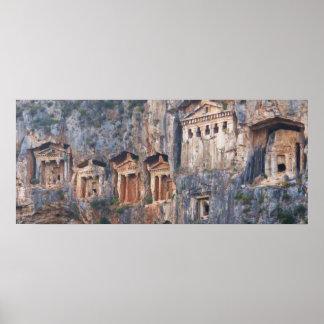 Lycian rock tombs in Dalyan, Turkey Poster