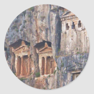 LYCIAN ROCK TOMBS TURKEY ROUND STICKERS
