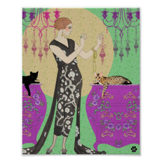 Lydia & Bengal in Fuchsia and Green Poster