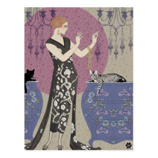 Lydia & Bengal in Mauve and Taupe Postcard