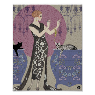 Lydia & Bengal in Mauve and Taupe Poster