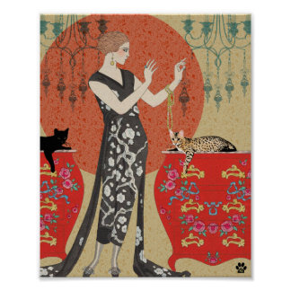 Lydia & Bengal in Red and Gold Poster