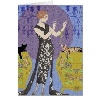 Lydia & Bengal in Yellow and  Blue Greeting Cards