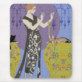 Lydia & Bengal in Yellow and Blue Mouse Pad