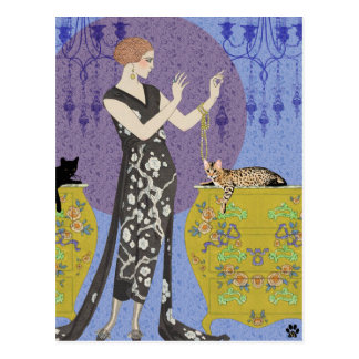Lydia & Bengal in Yellow and Blue Postcard