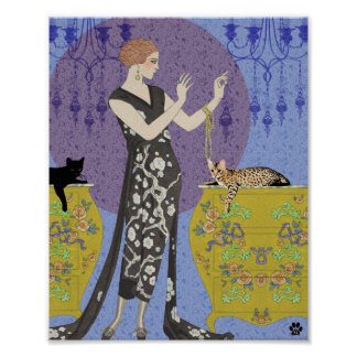 Lydia & Bengal in Yellow and Blue Poster