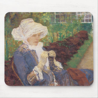 Lydia Crocheting en el jardín en margoso, Mary Alfombrillas De Ratón