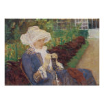 Lydia Crocheting en el jardín en margoso por Poster