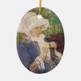 Lydia Crocheting in Garden at Marly, Mary Cassatt Ceramic Ornament