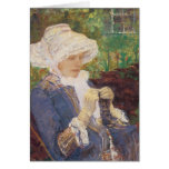 Lydia Crocheting in the Garden at Marly by Cassatt Card