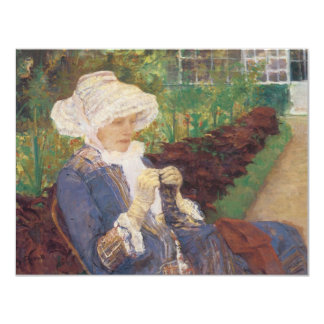 Lydia Crocheting in the Garden at Marly by Cassatt 4.25x5.5 Paper Invitation Card