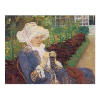 Lydia Crocheting in the Garden at Marly by Cassatt Postcard