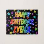 "[ Thumbnail: ""Lydia"" First Name, Fun ""Happy Birthday"" Jigsaw Puzzle ]"