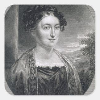 Lydia Huntley Sigourney (1791-1865), grabado por B Pegatina Cuadrada