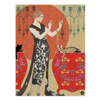 Lydia y Bengala en rojo y oro Tarjetas Postales