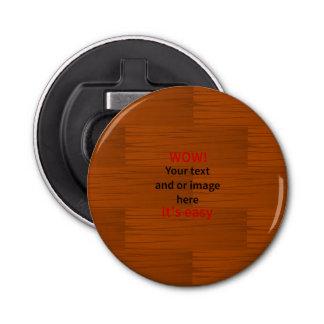 Lyer bajo de madera añade su propio texto abrebotellas redondo